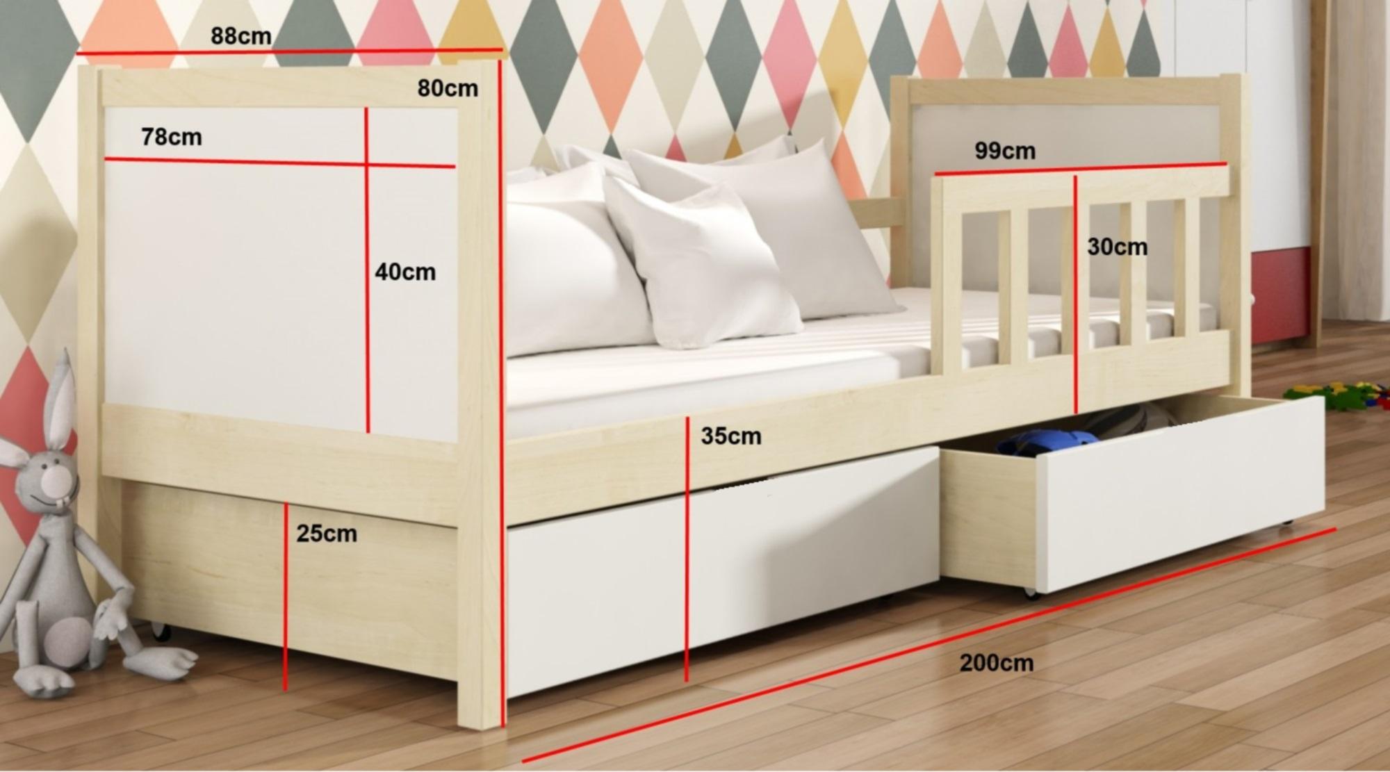 Kinderzimmer Hersteller   Bett Peter 1 Kinderbett Kiefer Weiss Emoebel24